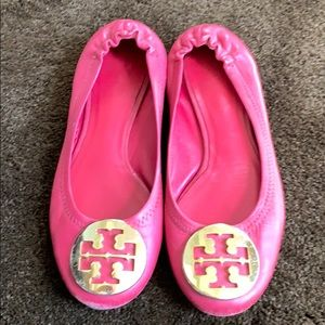 d98aad4a0 Girls size 1 Pink leather Tory Burch Flats